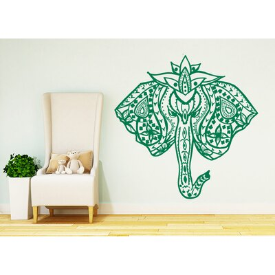Barton Hills Elephant Mehndi Wall Decal Color: Green