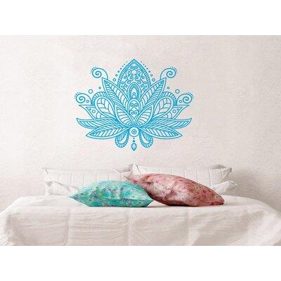 Estrella Lotus Flower Mandala Wall Decal Color: Ice Blue