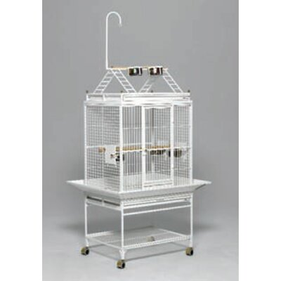 Chiquita Bird Cage with Casters Color: Pearl White, Top: Play Top