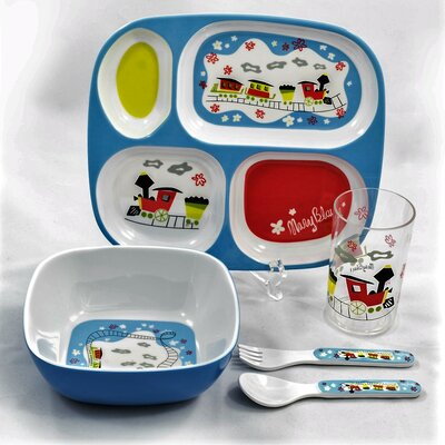Children Melamine Gift Trains 5 Piece Dinnerware Set