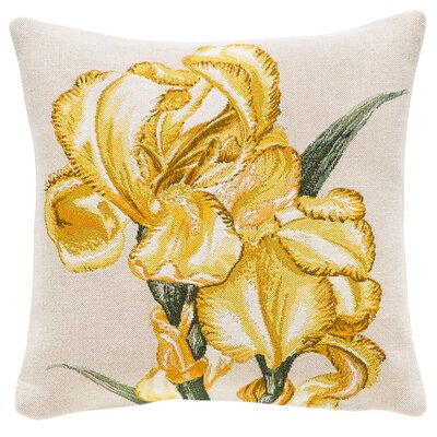 Iris Classic Throw Pillow Color: Yellow