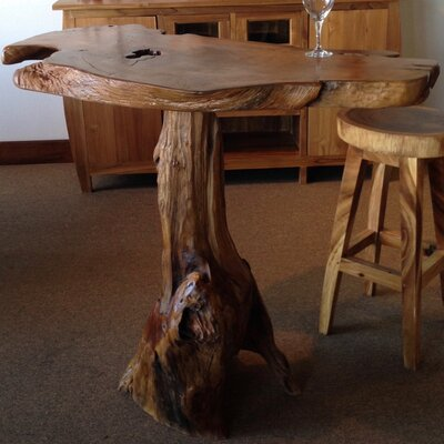 Teak Slab Pub Table