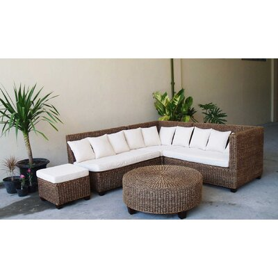 Clotilde 5 Piece Rattan Sectional Set with Cushions