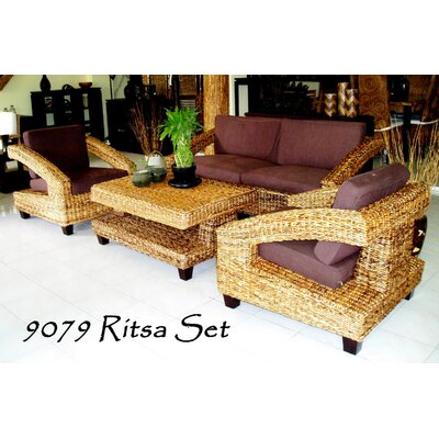 Emmalyn Rattan 4 Piece Sofa Set with Cushions