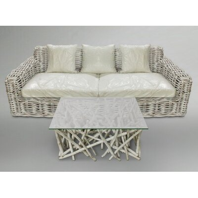 Litchfield 2 Piece Rattan Sofa Set with Cushions