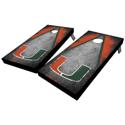 University of Miami Distressed Triangle 10 Piece Cornhole Set University of Miami Distressed Triangle Cornhole Board Set