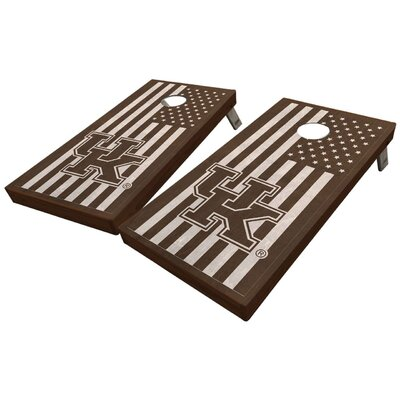 University of Kentucky Stained American Flag 10 Piece Cornhole Set University of Kentucky Stained American Flag Cornhole Board Set