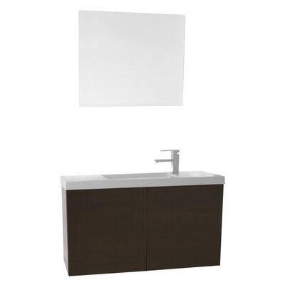Happy Day 39 Single Bathroom Vanity Set with Mirror Base Finish: Wenge