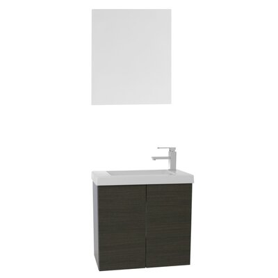 Happy Day 39 Single Bathroom Vanity Set with Mirror Base Finish: Gray Oak