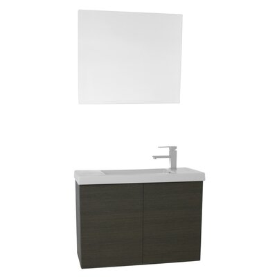 Happy Day 31 Single Bathroom Vanity Set with Mirror Base Finish: Gray Oak