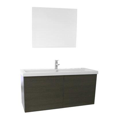 Space 47 Single Bathroom Vanity Set with Mirror Base Finish: Gray Oak