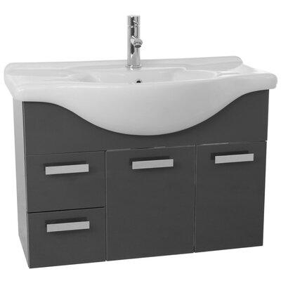 Phinex 39.4 Single Wall Mount Bathroom Vanity Set Base Finish: Glossy Anthracite