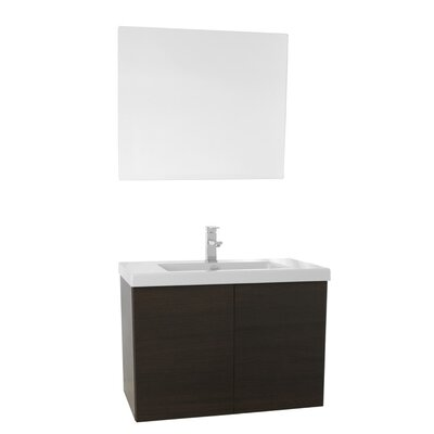 Space 31 Single Bathroom Vanity Set with Mirror Base Finish: Wenge