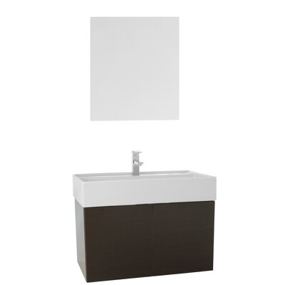 Smile 31 Single Bathroom Vanity Set with Mirror Base Finish: Wenge