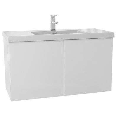 Space 39 Single Bathroom Vanity Set Base Finish: Glossy White
