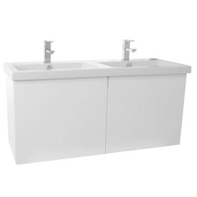 Space 47 Double Bathroom Vanity Set Base Finish: Glossy White
