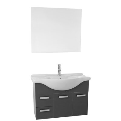 Phinex 32 Single Bathroom Vanity Set with Mirror Base Finish: Glossy Anthracite