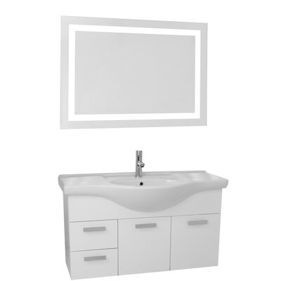 Phinex 39 Single Bathroom Vanity Set with Mirror Base Finish: Glossy White
