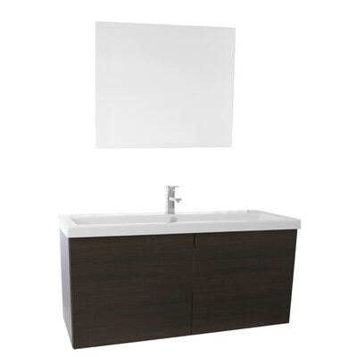 Space 47 Single Bathroom Vanity Set with Mirror Base Finish: Wenge