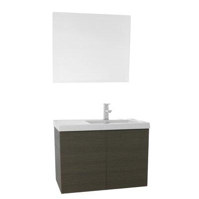 Space 31 Single Bathroom Vanity Set with Mirror Base Finish: Gray Oak
