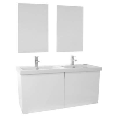 Space 47 Double Bathroom Vanity Set with Mirror Base Finish: Glossy White