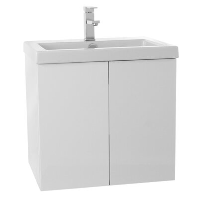 Space 23 Single Bathroom Vanity Set Base Finish: Glossy White