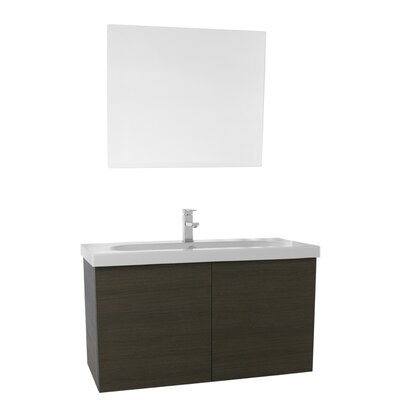 Trendy 39 Single Bathroom Vanity Set with Mirror Base Finish: Gray Oak