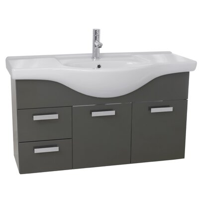 Phinex 39 Single Wall Mount Bathroom Vanity Set Base Finish: Glossy Anthracite
