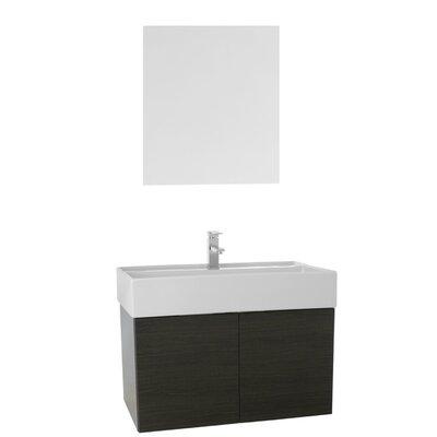 Smile 31 Single Bathroom Vanity Set with Mirror Base Finish: Gray Oak
