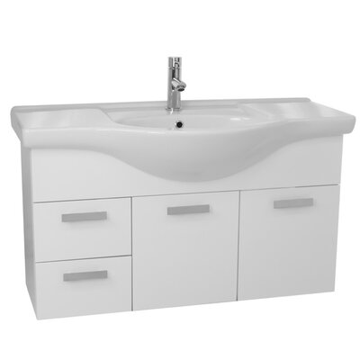 Phinex 39 Single Wall Mount Bathroom Vanity Set Base Finish: Glossy White