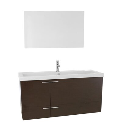 New Space 47 Single Bathroom Vanity Set with Mirror Base Finish: Wenge