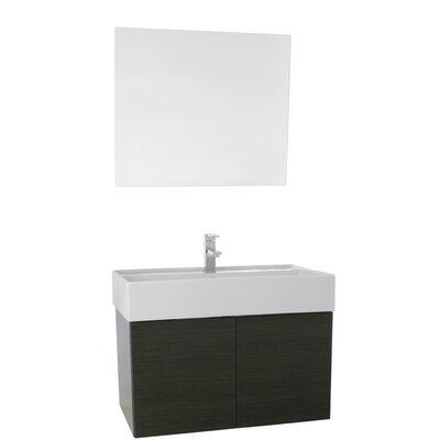 Smile 31 Single Bathroom Vanity Set with Mirror Base Finish: Gray Oak