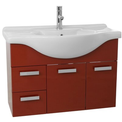 Phinex 39.4 Single Wall Mount Bathroom Vanity Set Base Finish: Glossy Red