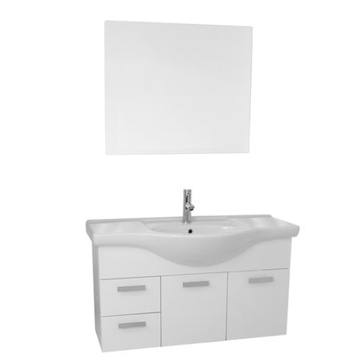 Phinex 39 Single Bathroom 3 Piece Vanity Set with Mirror Base Finish: Glossy White