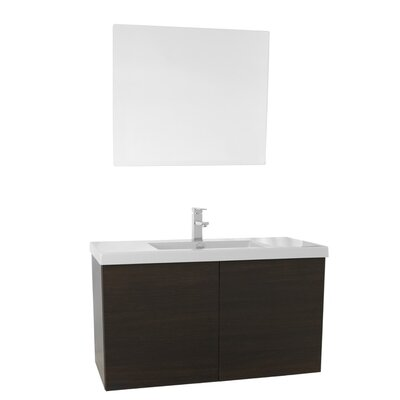 Space 39 Single Bathroom Vanity Set with Mirror Base Finish: Wenge