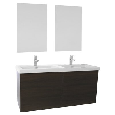 Space 47 Double Bathroom Vanity Set with Mirror Base Finish: Wenge