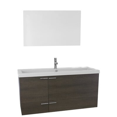 New Space 47 Single Bathroom Vanity Set with Mirror Base Finish: Gray Oak