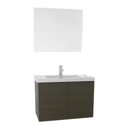 Space 31 Single Bathroom Vanity Set with Mirror Base Finish: Gray Oak