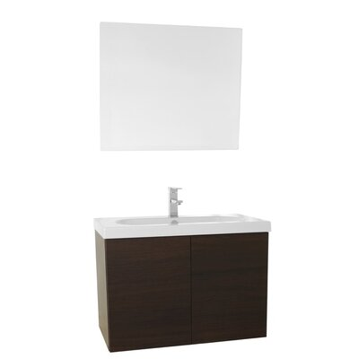 Trendy 31 Single Bathroom Vanity Set with Mirror Base Finish: Wenge
