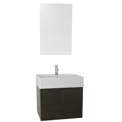 Smile 23 Single Bathroom Vanity Set with Mirror Base Finish: Gray Oak