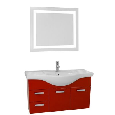 Phinex 39 Single Bathroom Vanity Set with Mirror Base Finish: Glossy Red