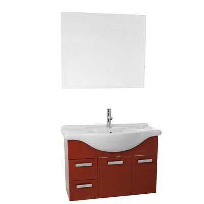 Phinex 32 Single Bathroom Vanity Set with Mirror Base Finish: Glossy Red