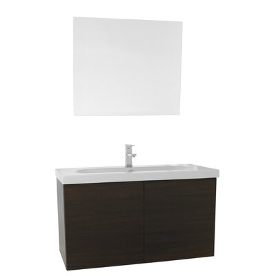 Trendy 39 Single Bathroom Vanity Set with Mirror Base Finish: Wenge
