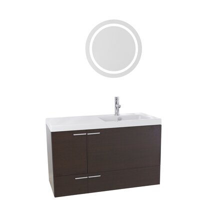 New Space 39 Single Bathroom Vanity Set with Mirror Base Finish: Wenge