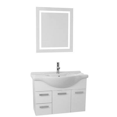 Phinex 32 Single Bathroom Vanity Set with Mirror Base Finish: Glossy White