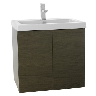 Space 23 Single Bathroom Vanity Set Base Finish: Gray Oak