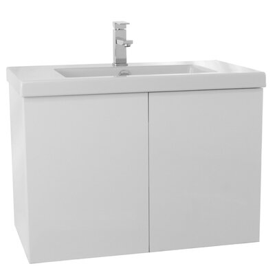 Space 31 Single Bathroom Vanity Set Base Finish: Glossy White