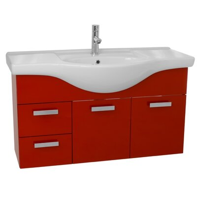 Phinex 39 Single Wall Mount Bathroom Vanity Set Base Finish: Glossy Red