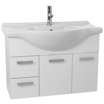 Phinex 39.4 Single Wall Mount Bathroom Vanity Set Base Finish: Glossy White