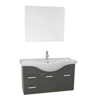 Phinex 39 Single Bathroom Vanity Set with Mirror Base Finish: Glossy Anthracite